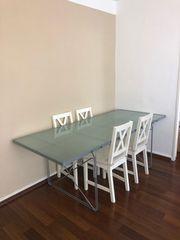 Glas Tisch 4 Ikea Stühle