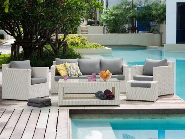Lounge Set Rattan weiss 6-Sitzer Auflagen grau ROMA. Beliani in ...