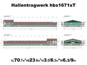 Stahlhallentragwerk für Legehennenstall L70m x