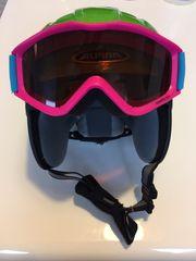 Alpina Kinder-Skihelm mit UVEX-Skibrille