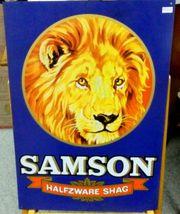 Altes Werbungs-SAMSON-Tabakbild aus Metall
