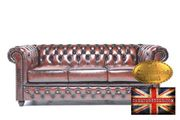 Antik Braun Leder Chesterfield Sofa