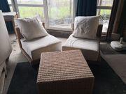 Ratan Sitzgruppe mit zwei Sesseln