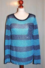 Pullover blau gestreift mit Pailletten