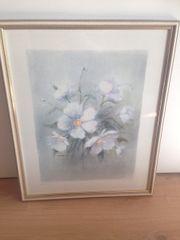 Wandbild blaue Blumen