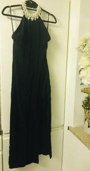 Damen Abendkleid schwarz mit Perlen