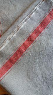 Mangeltuch Leinen roter Streifen