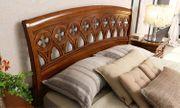 Klassisches Bettgestell Doppelbett Holzfurniert Kirschbaumfarbe