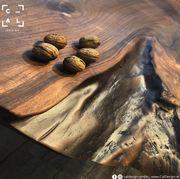 Massivholztisch Walnuss mit Edelstahl Tischgestell