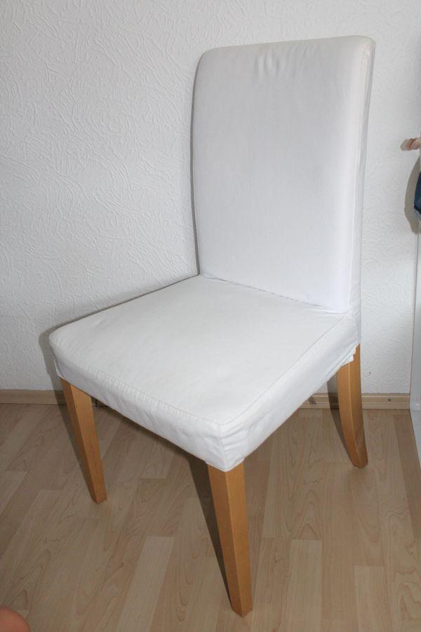 Sechs IKEA HENRIKSDAL Stühle, Birke / weiß plus neue Bezüge - Ettlingen - 6 x moderne Esszimmerstühle von IKEA. Stuhlbeine sind in Birke und die Bezüge sind weiß. Zusätzlich gibt es zu diesem Angebot 5 x neue Stuhlbezüge in weiß dazu.Artikelnummer: 291.842.73Stuhlbeine aus Massivholz, einem strapazierfähigen  - Ettlingen