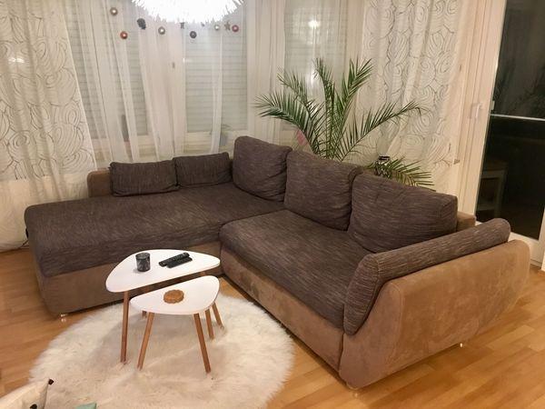 Moderne Braune Eck Couch L Sofa Mit Schlaffunktion In
