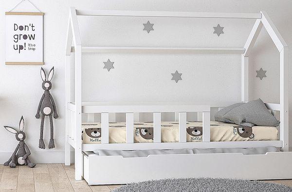 Kinderbett Kinderhaus Bett für Kinder BETT HOLZ mit Sicherheitsbarrieren