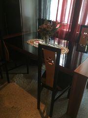 Esstisch Esszimmer Nussbraun mit schwarzer