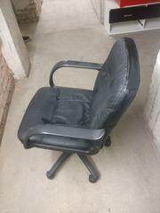 Bürodrehstuhl Leder schwarz höhenverstellbar