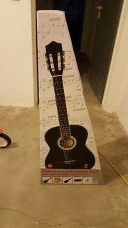 Konzertgitarre schwarz - neu