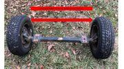 Eingekürzte Achse für Sterholzanhänger Rückewagen