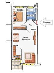 2 Zimmer Wohnung teilmöbliert