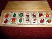 Holzdomino Weihnachtsmotive Puppengeschirr