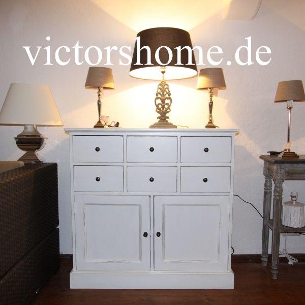 Weisse-Kommode mit Schubladen und Tür Sideboard B 109 cm in ...