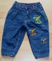 Gefütterte blaue Jeans-Hose - Größe 80 -