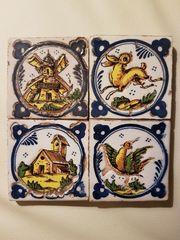 4 antike portugiesische Fliesen