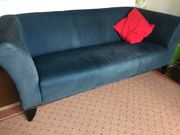 Blaues Sofa Velours Leder mit