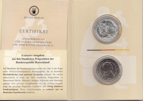 10 Euro Gedenkmünze 2012 Sonderprägung 300 Geb Friedrich In