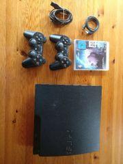 Sony PlayStation 3 Slimline 160GB Schwarz + 2 Controller + 2 Spiele gebraucht kaufen  Ober Kostenz