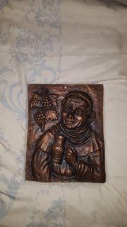 Kupferbild Kupferguss Trinkender Mönch 6
