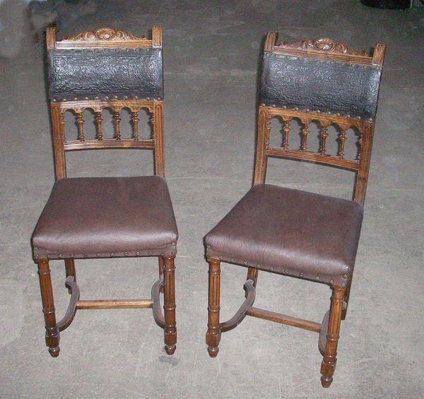 Attraktiv 2 Stühle Antik Gründerzeit Lederrückenlehne