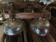 Deckenlampe Holz Glas rustikal Topzustand