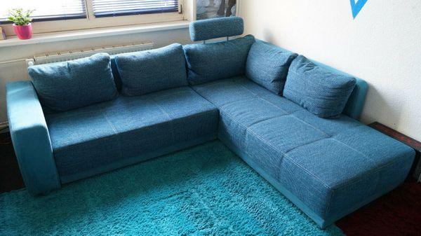 Polsterecke Schlaf Sofa Eck Couch Struktur Türkis Petrol In