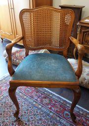 Armlehnstuhl Holz mit Rattangeflecht und
