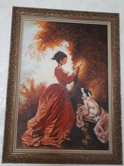 Ölgemälde Frau mit Hund 90