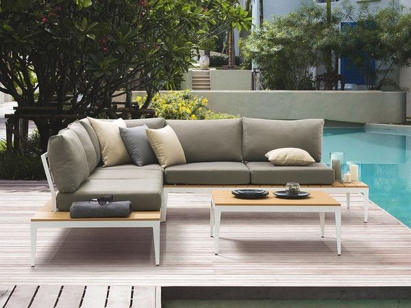 Lounge Set Aluminium Weiss 4 Sitzer Auflage Grau Positano Beliani